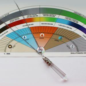 Zestaw: Skala pomiaru wibracji + wahadełko Kryształ górski