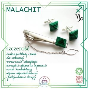 Komplet spinek z malachitem